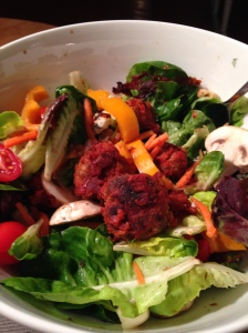 Meatballs on Salad.  Try it!