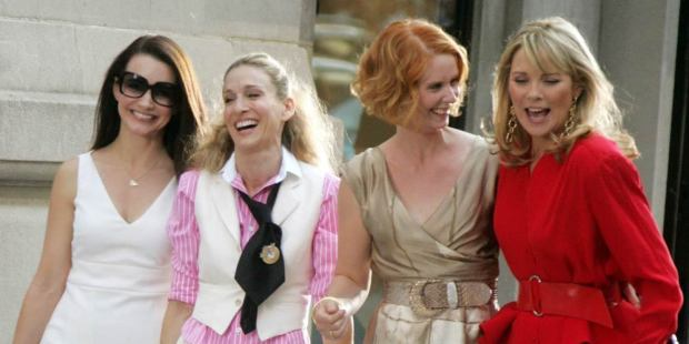 from left to right: Charlotte, Carrie, Miranda, and Samantha